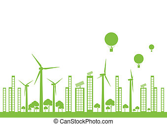 città, ecologia, vettore, sfondo verde, paesaggio