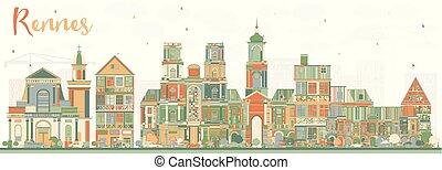 città, edifici., colorare, francia, orizzonte, rennes