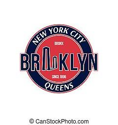 città, emblema, ponte, brooklyn, york, nuovo, retro