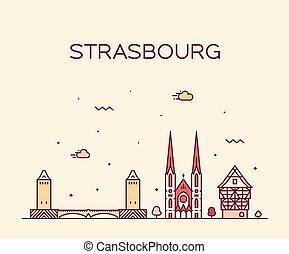 città, est, strasburgo, francia, orizzonte, vettore, grande
