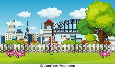 città, esterno, parco, scena