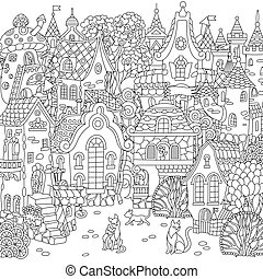 città, fantasia, coloritura, pagina