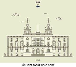città, finland., oulu, punto di riferimento, salone, icona