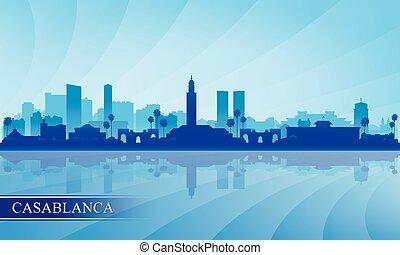 città, fondo, casablanca, siluetta skyline