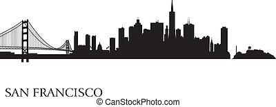 città, francisco, silhouette, san, orizzonte, fondo
