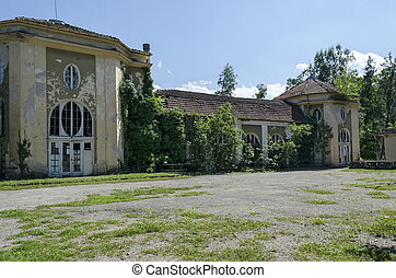 città, giardino, vecchio, frammento, sole, casinò, king's, varshets, parte, architettonico, banite, terme, insieme