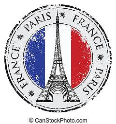 città, grunge, parigi, eiffel, francobollo, francia, vettore, torre