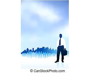 città, gruppo, ai8, viaggiatore, compatibile, illustration:, orizzonte, vettore, fondo, internet, uomo affari, originale