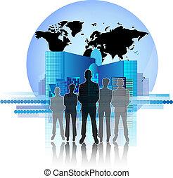 città, gruppo, illustrazione affari, orizzonte, terra