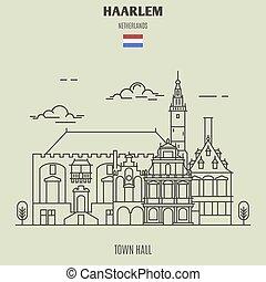 città, haarlem, punto di riferimento, netherlands., salone, icona