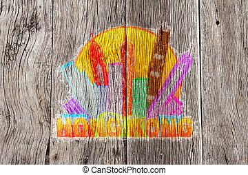 città, hong, colorare, illustrazione, kong, orizzonte, legno, fondo, cerchio