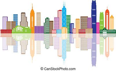 città, hong, colorare, panorama, illustrazione, kong, orizzonte