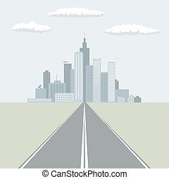 città, illustration., appartamento, condurre, diritto, vettore, disegno, grande, strada