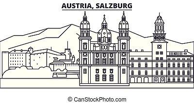 città, illustration., paesaggio., salisburgo, limiti, famoso, orizzonte, vettore, viste, cityscape, linea, austria, lineare