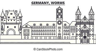 città, illustration., paesaggio., vermi, limiti, famoso, orizzonte, vettore, viste, cityscape, linea, germania, lineare