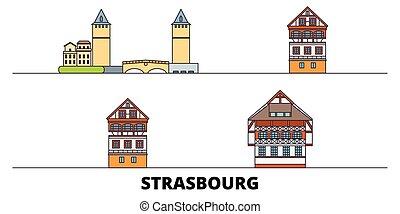 città, illustration., strasburgo, appartamento, limiti, francia, famoso, vettore, viste, linea, orizzonte, viaggiare, design.