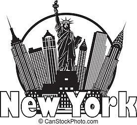città, illustrazione, orizzonte, nero, york, nuovo, cerchio bianco