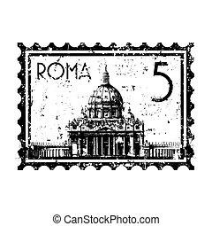 città, isolato, illustrazione, singolo, vettore, vaticano, icona