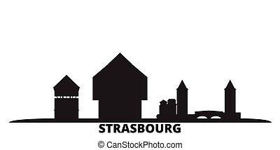 città, isolato, nero, viaggiare, orizzonte, strasburgo, francia, illustration., cityscape, vettore