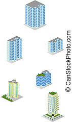 città, isometrico, costruzioni appartamento, pacco