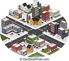 città, isometrico, scena, grande