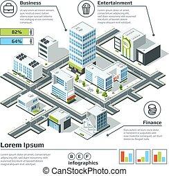 città, isometrico, vettore, illustration., map., dimensionale, infographic, piano, 3d