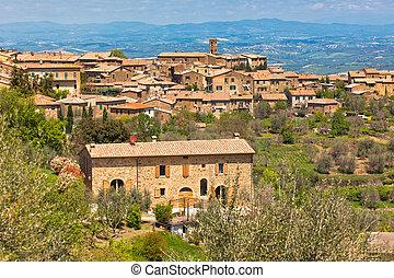 città, italia, famoso, toscano, montalcino, vino