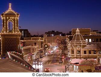 città, kansas, piazza, luci