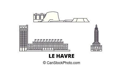 città, le, contorno, illustrazione, viaggiare, landmarks., havre, francia, orizzonte, vettore, viste, linea, simbolo, set.