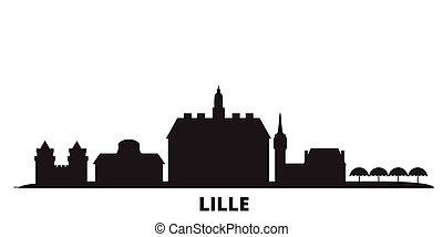 città, lille, isolato, nero, viaggiare, orizzonte, francia, illustration., cityscape, vettore