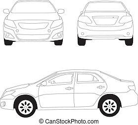 città, linea, illustrazione, automobile