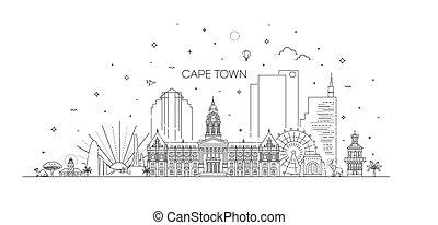 città, linea, orizzonte, illustrazione, capo, architettura