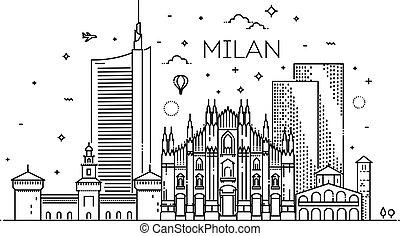 città, lineare, bandiera, milano