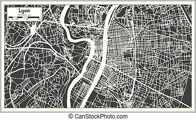 città, lyon, contorno, mappa, map., francia, retro, style.