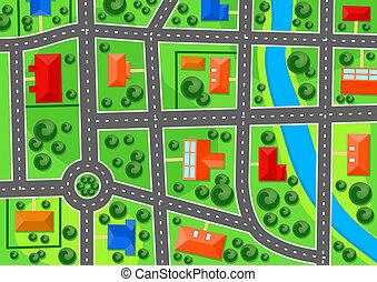 città, mappa, sobborgo