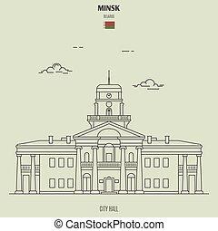 città, minsk, belarus., punto di riferimento, salone, icona