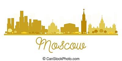 città, mosca, dorato, orizzonte, silhouette.