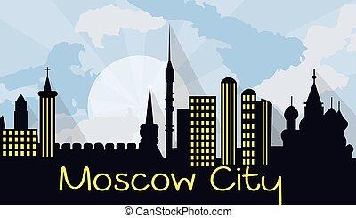 città, mosca, silhouette