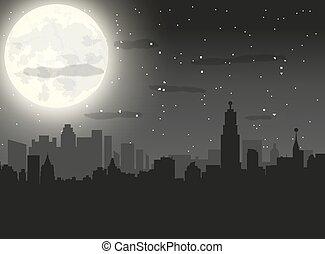 città, notte, silhouette, cielo