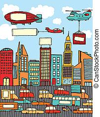 città, occupato, cartone animato