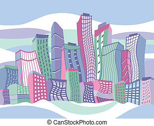 città, ondulato, cartone animato