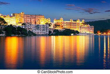 città, palazzo, lago, asia, india, night., rajasthan, udaipur, pichola