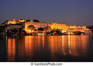 città, palazzo, notte, india, complesso, rajasthan, udaipur