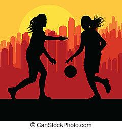 città, pallacanestro, vettore, tramonto, fronte, donne
