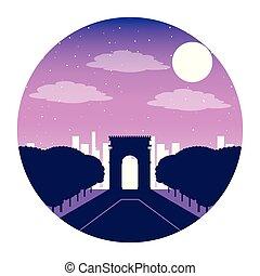 città, parigi francia, notte, arco, trionfo