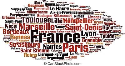 città, parola, nuvola, francia