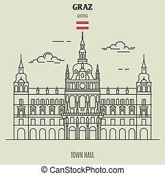 città, punto di riferimento, austria., graz, salone, icona