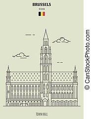 città, punto di riferimento, belgium., bruxelles, salone, icona
