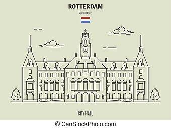 città, rotterdam, punto di riferimento, netherlands., salone, icona