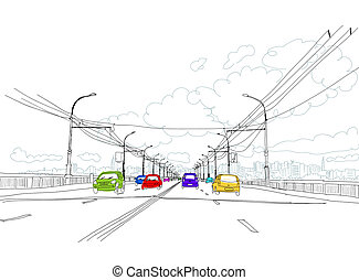 città, schizzo, traffico, disegno, tuo, strada